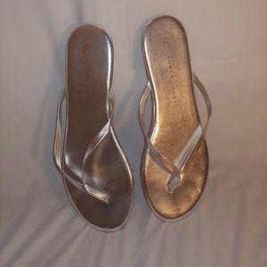 Lauren Conrad silver flip flops